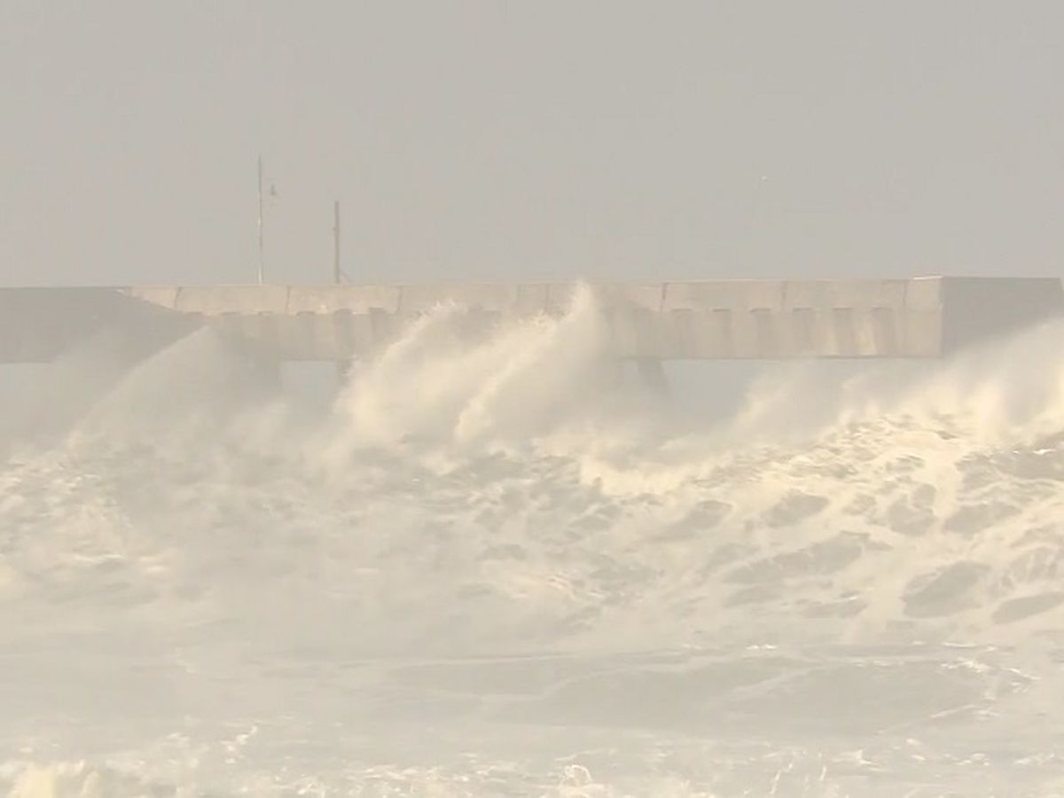 Powerful surf pounding California to ease