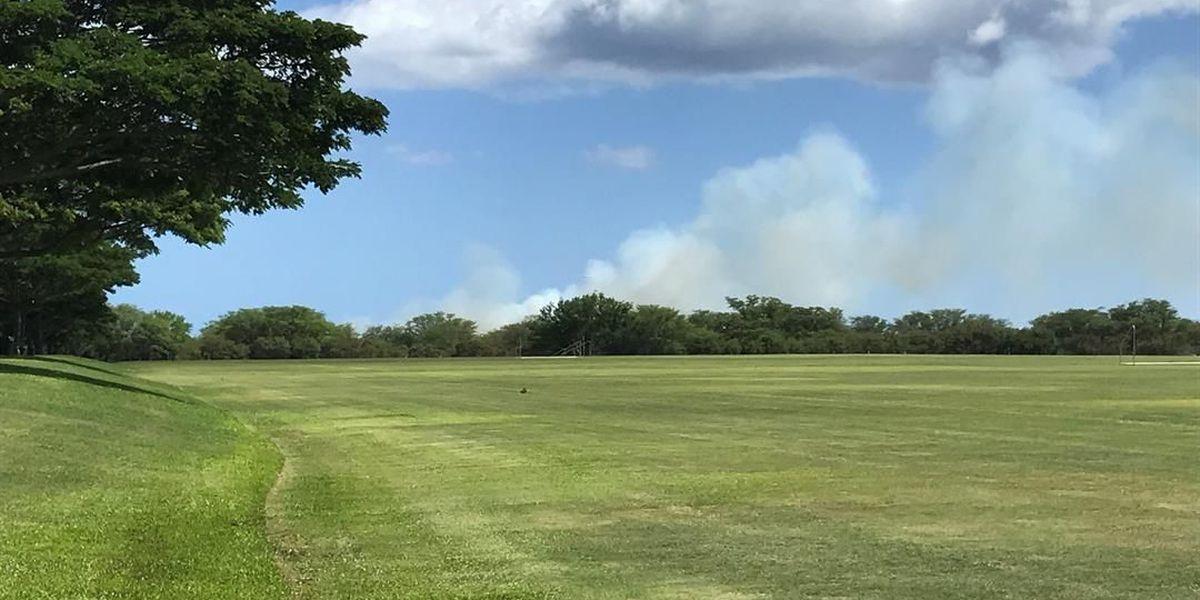 Large brush fire burns along Waipio Point Access Road