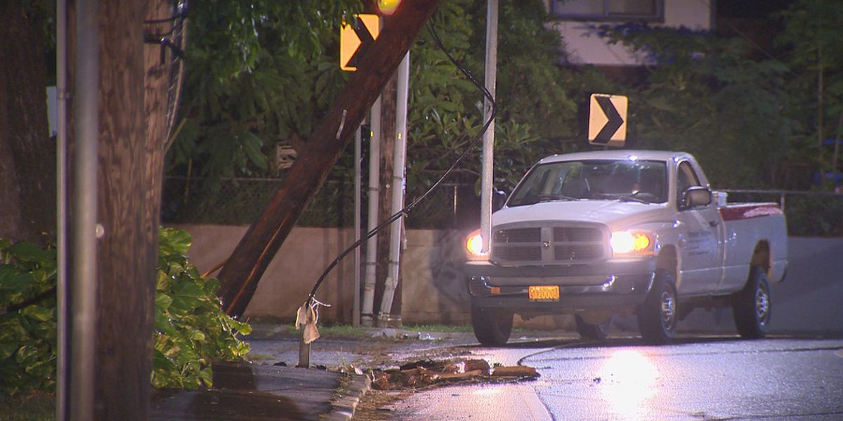 Portion of Waipahu St. closed due to damaged pole