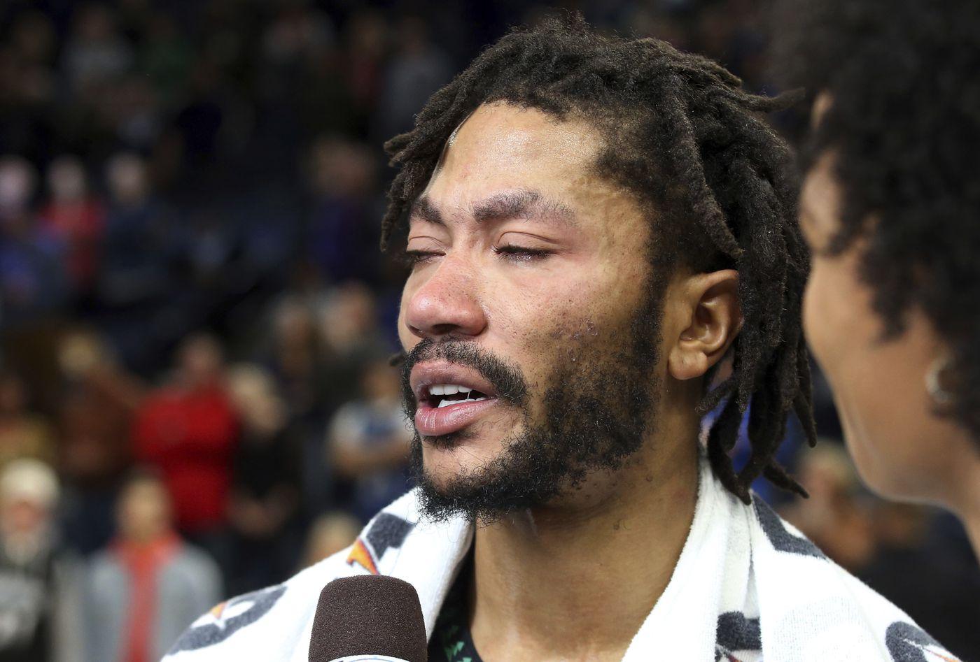 eccc70207d3 Minnesota Timberwolves  Derrick Rose is interviewed after he scored 50  points