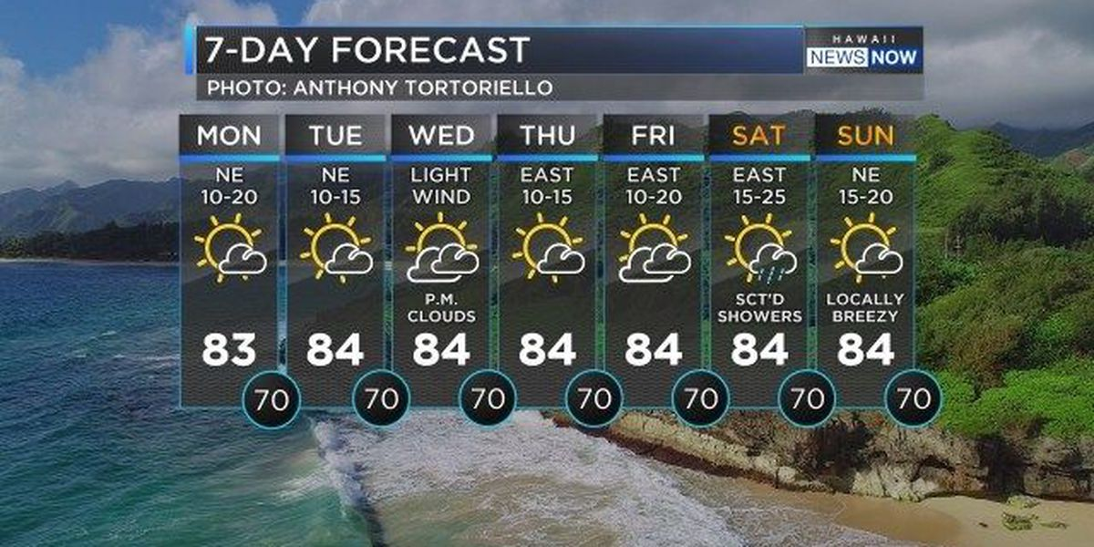 Forecast: Typical trade wind conditions to start the week