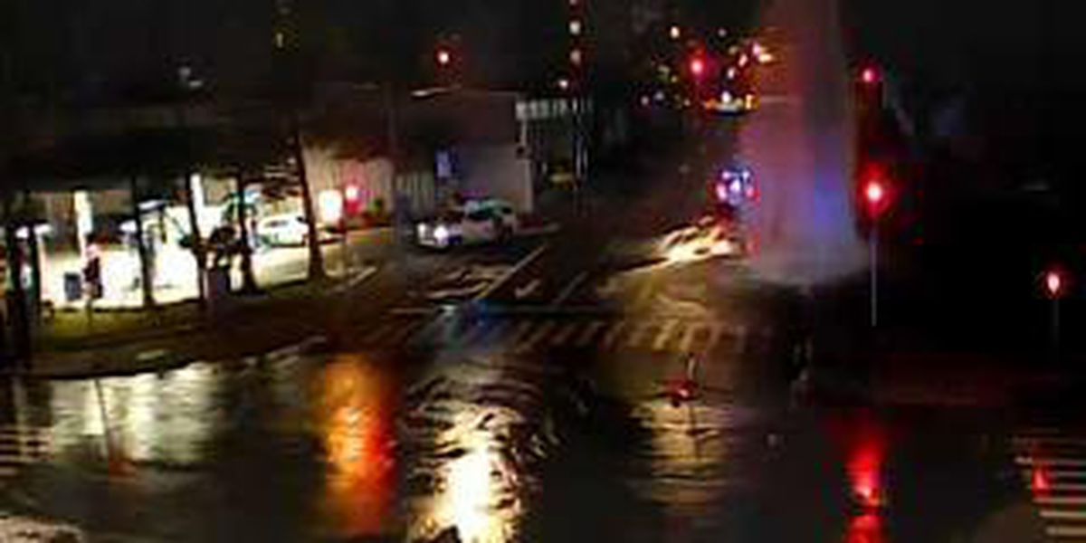Vehicle crashes into hydrant on Ward Ave., sending water gushing onto roadway