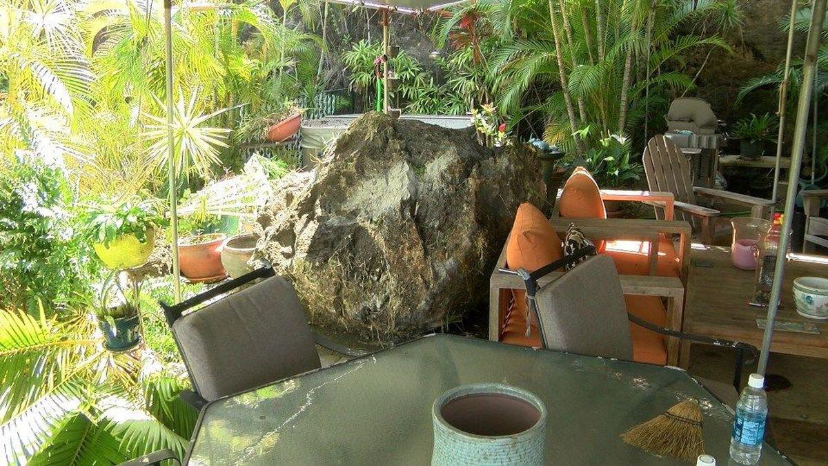 Community shaken after 5-ton boulder crashes onto Manoa patio