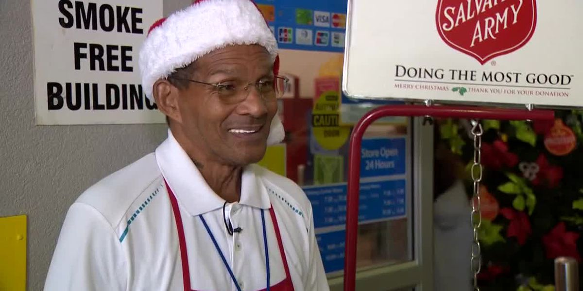 Kettle bell ringer spreads joy by giving back to organization that saved his life