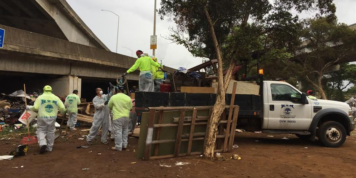Crews wrap up Nimitz Viaduct clean-up, hauling out 4M pounds of trash