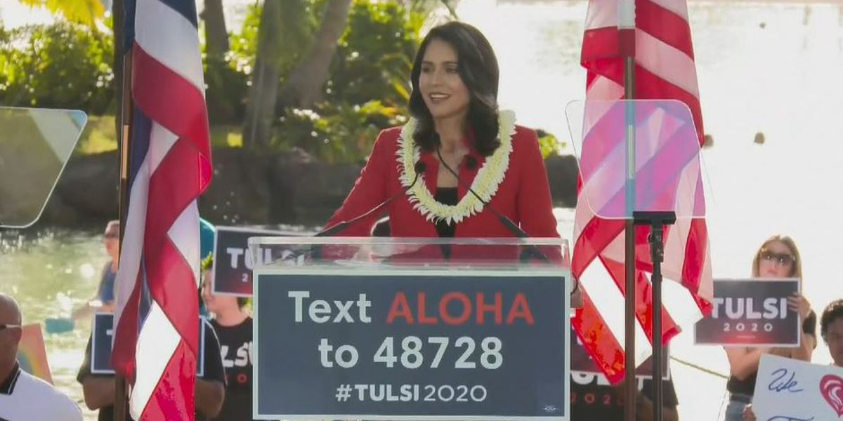 Running on platform of 'peace at home and abroad,' Gabbard officially kicks off presidential campaign