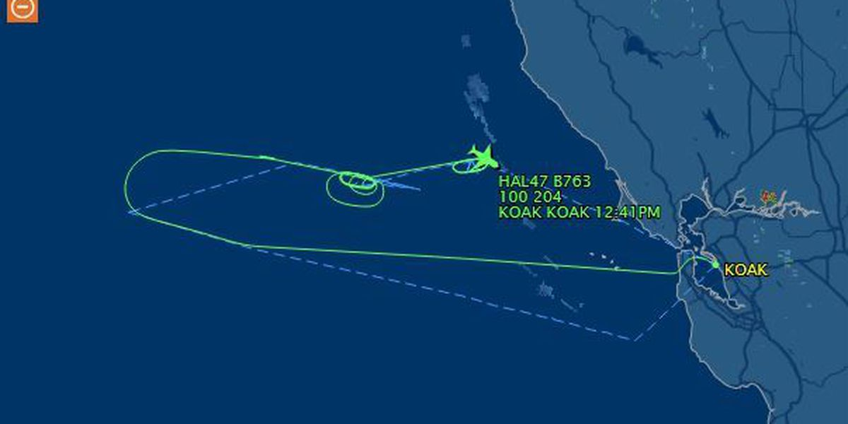 Hawaiian Airlines flight from Oakland diverted, circles off coast of California