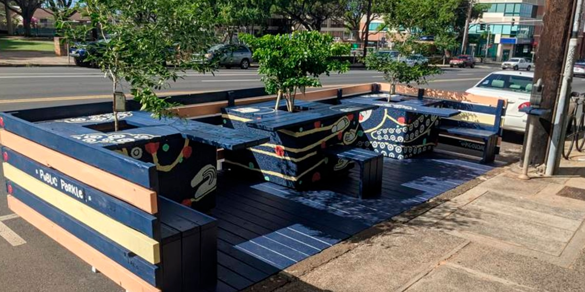These parklets will be taking over some street parking stalls in Kaimuki