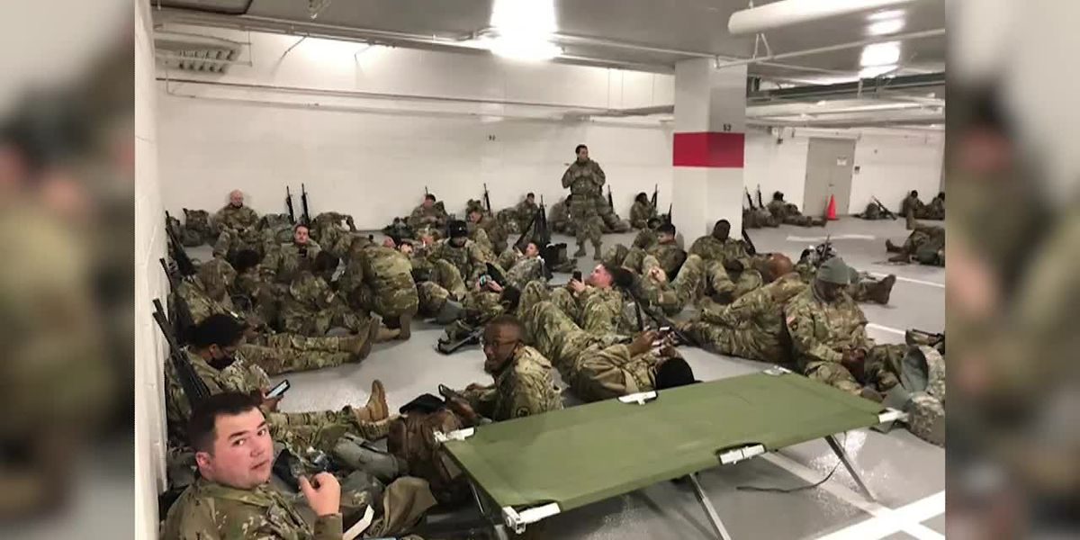 Reports that troops were forced out of the Capitol and relocated to a garage to rest drew outrage