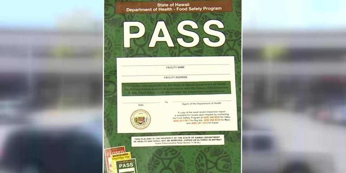 Color-coded inspection placards now in place at Hawaii restaurants