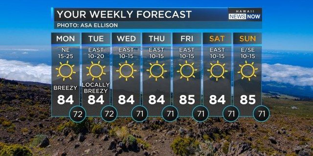 Forecast: Sunshine and trade winds for the first week of spring