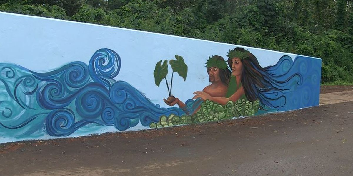 To curb vandalism, Kapaa students cover a bridge in Hawaiian-themed art