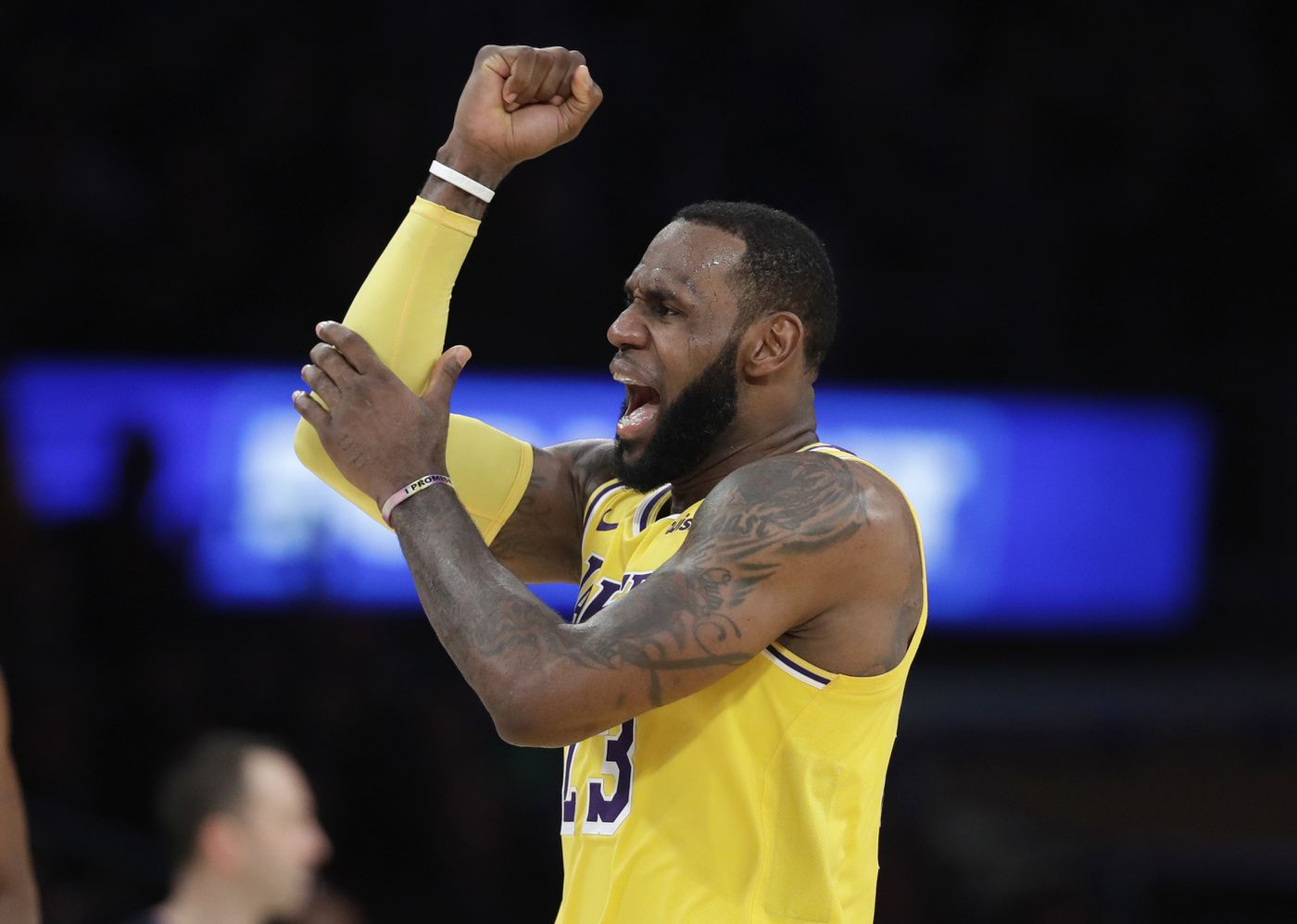 b0a1d0bcc74d Los Angeles Lakers  LeBron James argues a call during the second half of an  NBA