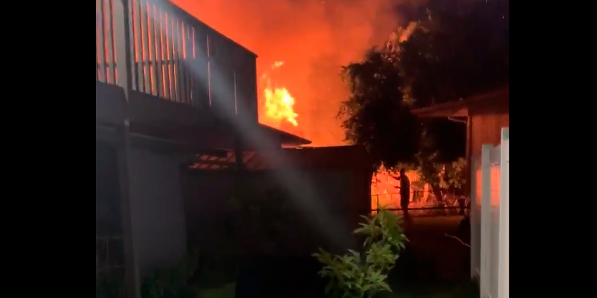Flames tear through a home on Kauai's east side