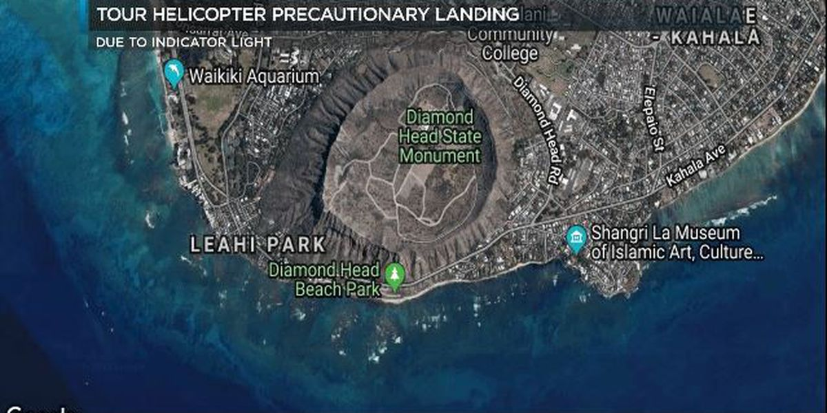 Tour helicopter lands inside Diamond Head Crater as a precaution