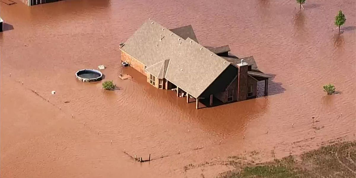 Home in Oklahoma surrounded by flood waters