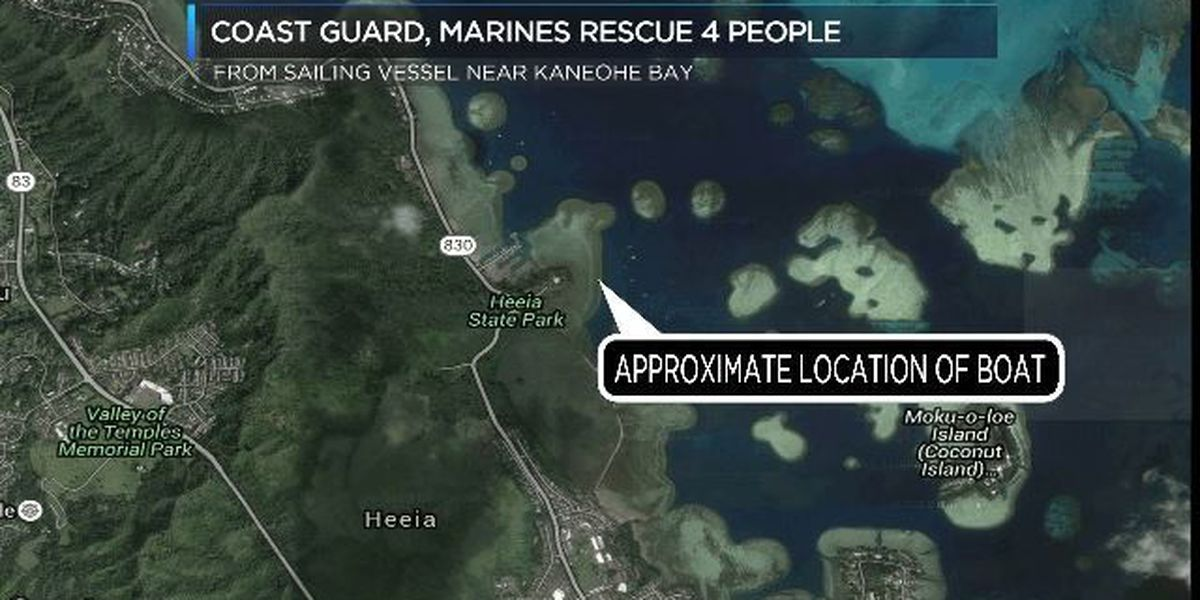 Coast Guard, Marines rescue 4 people from boat that ran aground near Kaneohe Bay