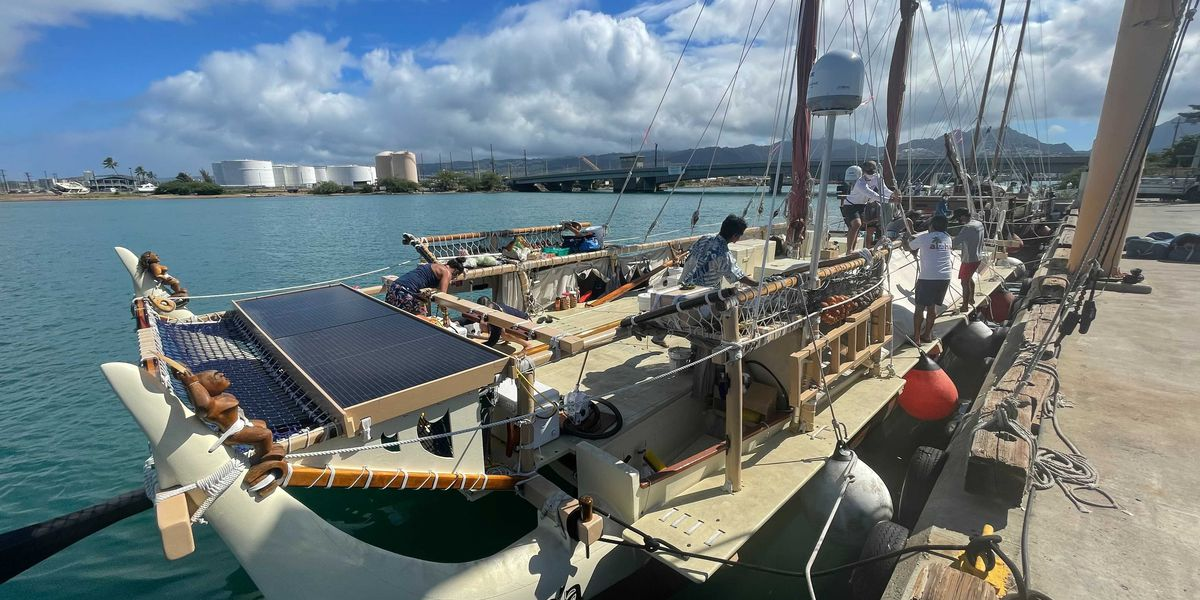 Voyaging canoes Hokulea, Hikianalia depart Hawaii on training mission in Pacific