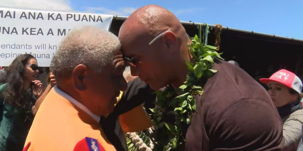 At Mauna Kea, 'The Rock' calls for 'leadership with empathy' to resolve TMT conflict