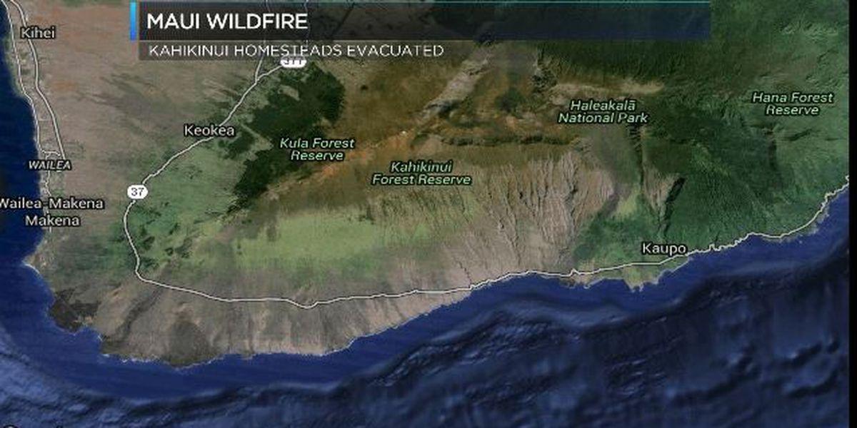 Rural Maui brush fire burns 2,500 acres; homes evacuated