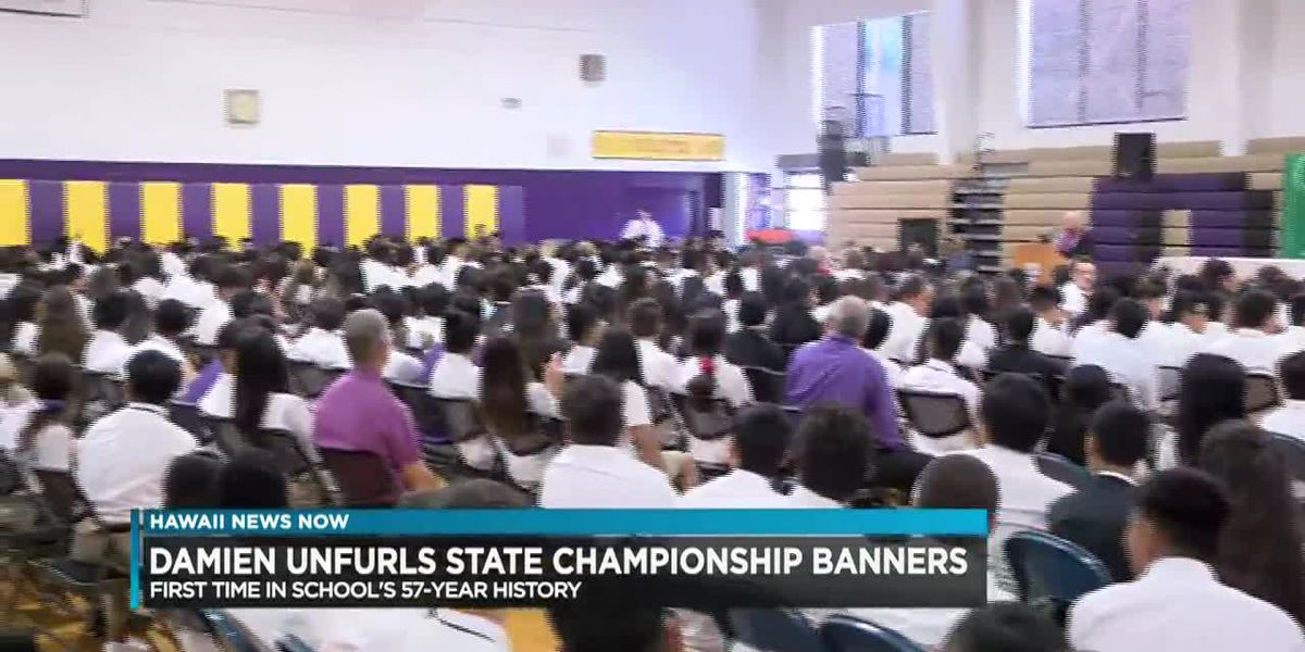 Damien unveils new state title banners in gymnasium