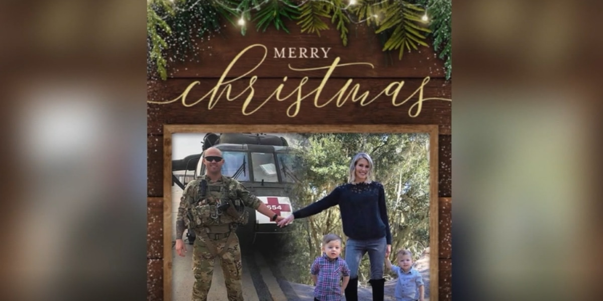 Wife adds deployed husband to family Christmas card