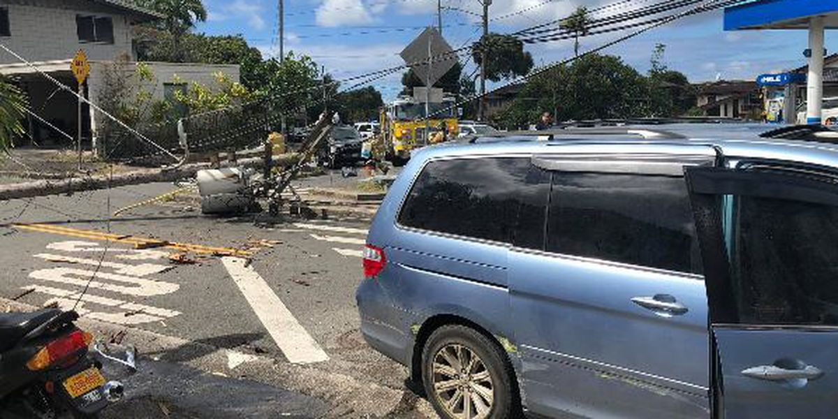 Police searching for driver who crashed into utility pole, then fled from a big mess