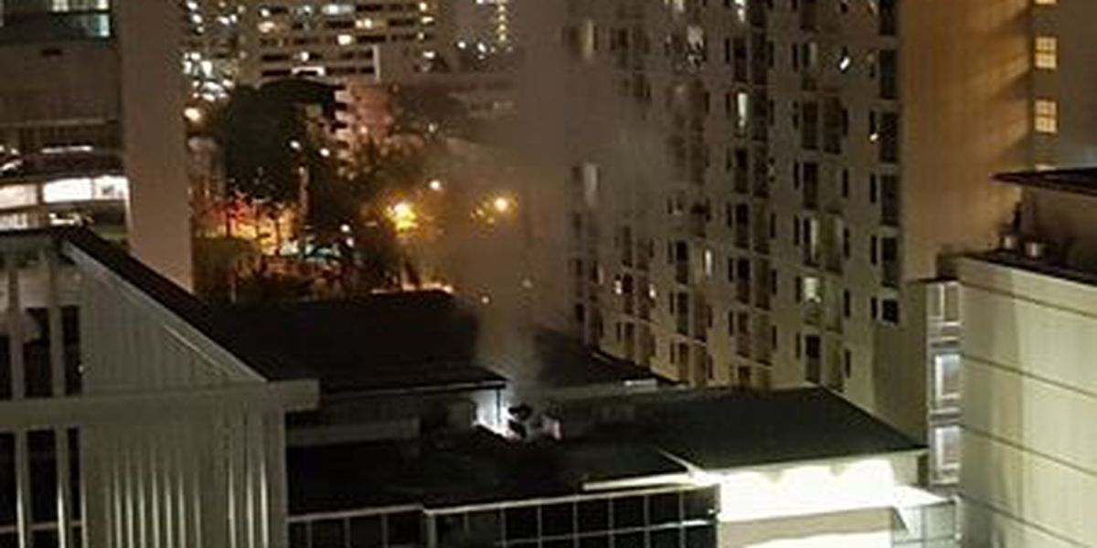 Firefighters put out blaze on roof of Duty Free Shop in Waikiki