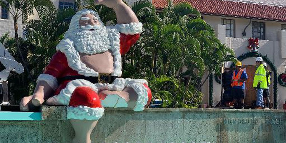 Shaka Santa has a bit of a mishap on his way to Honolulu Hale