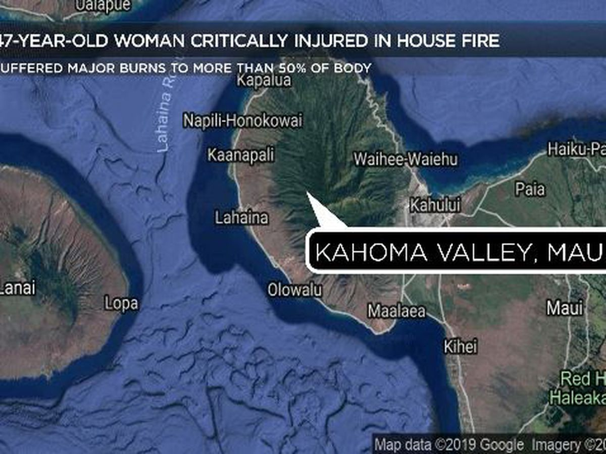 Woman in critical condition after suffering severe burns in a Maui fire
