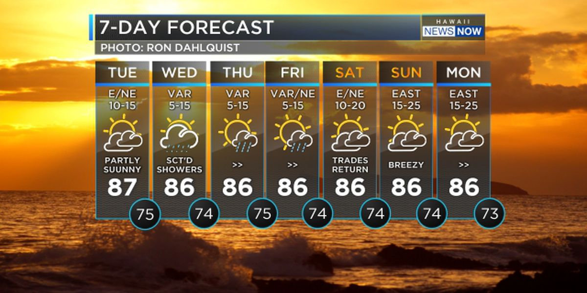 Forecast: Trades to continue, but lighter winds and rain approaching