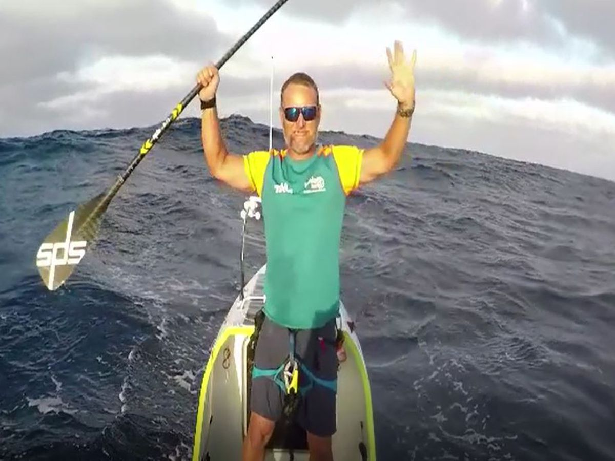 Solo endurance athlete completes Pacific crossing on a customized paddleboard