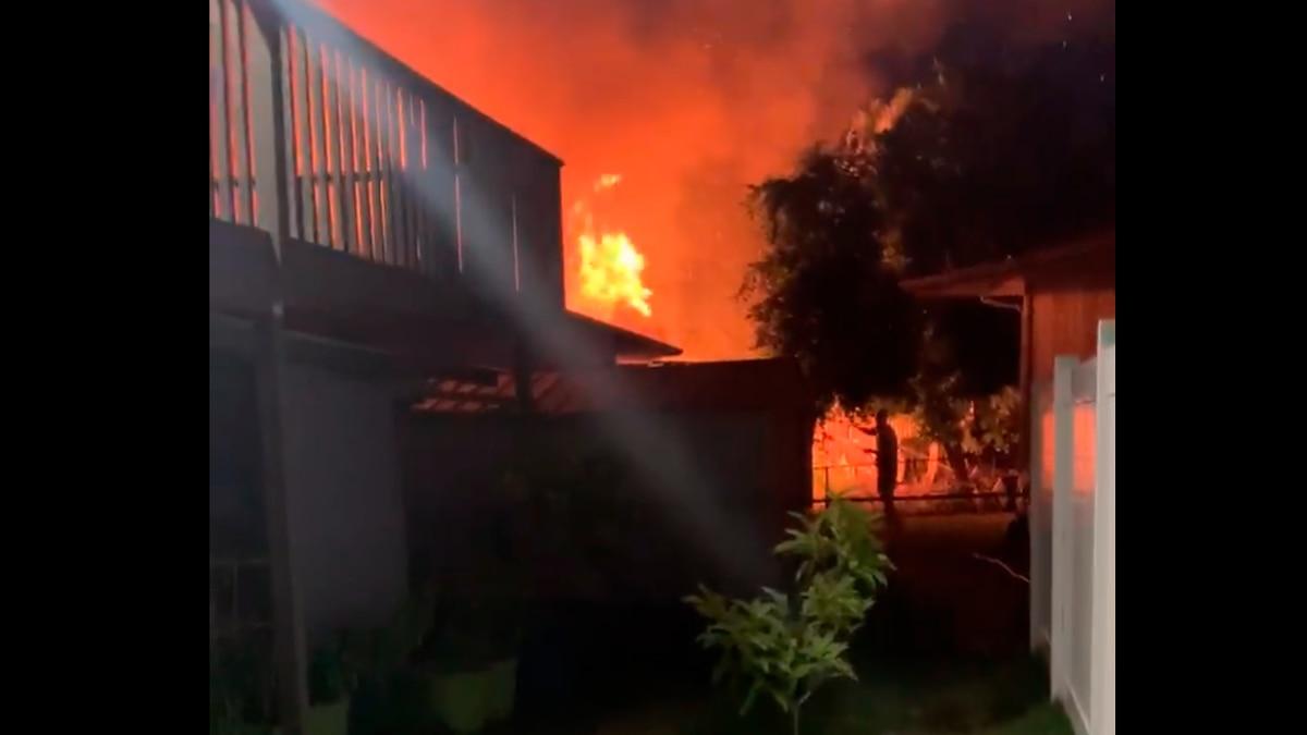 Flames tear through a home on Kauai's east side