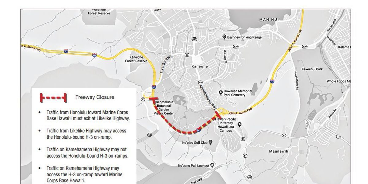 Portion of the H-3 Freeway to close next week for electrical work