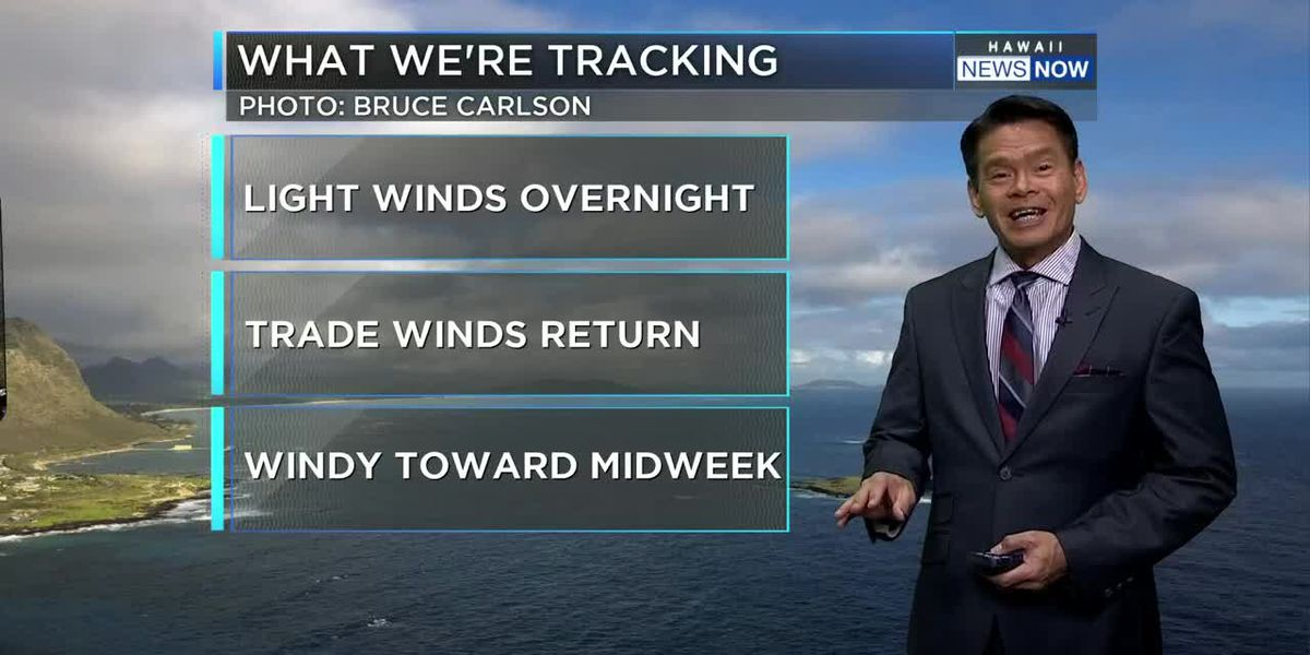 Forecast: Trades returning, then becoming gusty through the week
