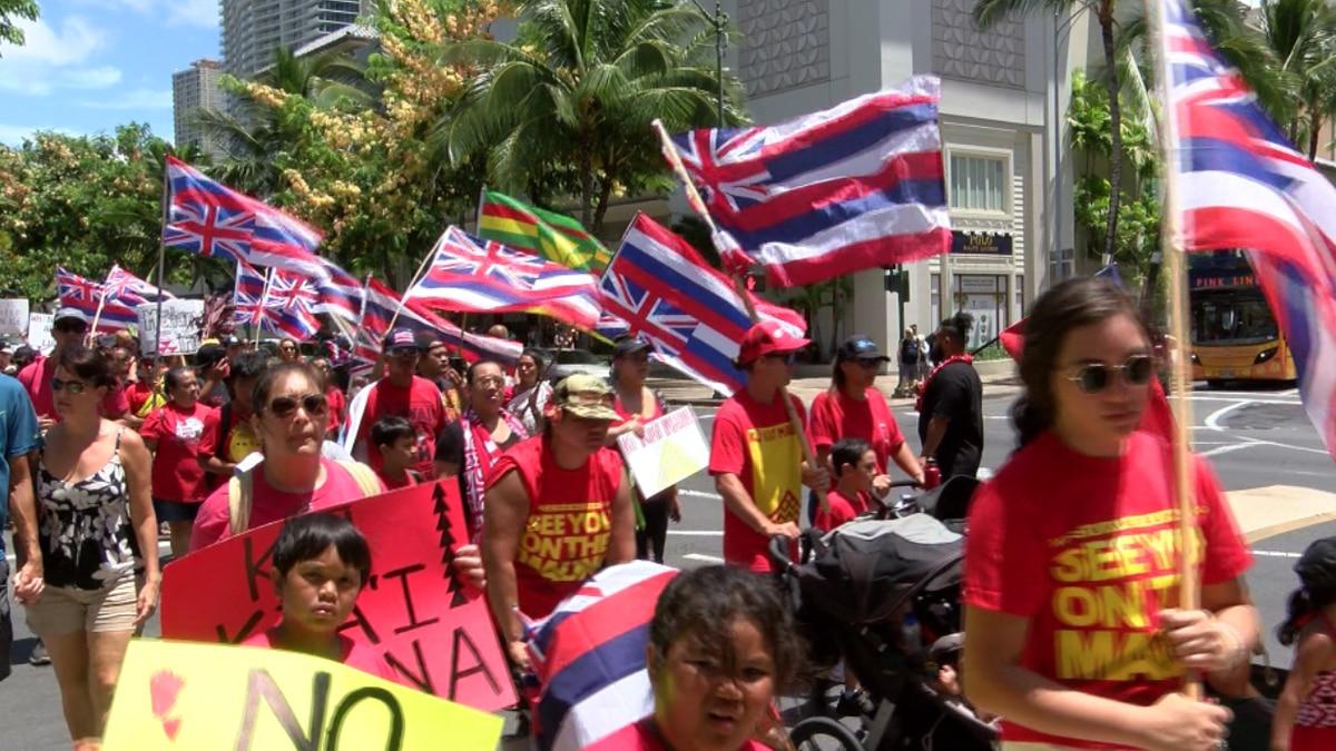 Large anti-TMT march makes is way through Hawaii's heart of tourism: Waikiki