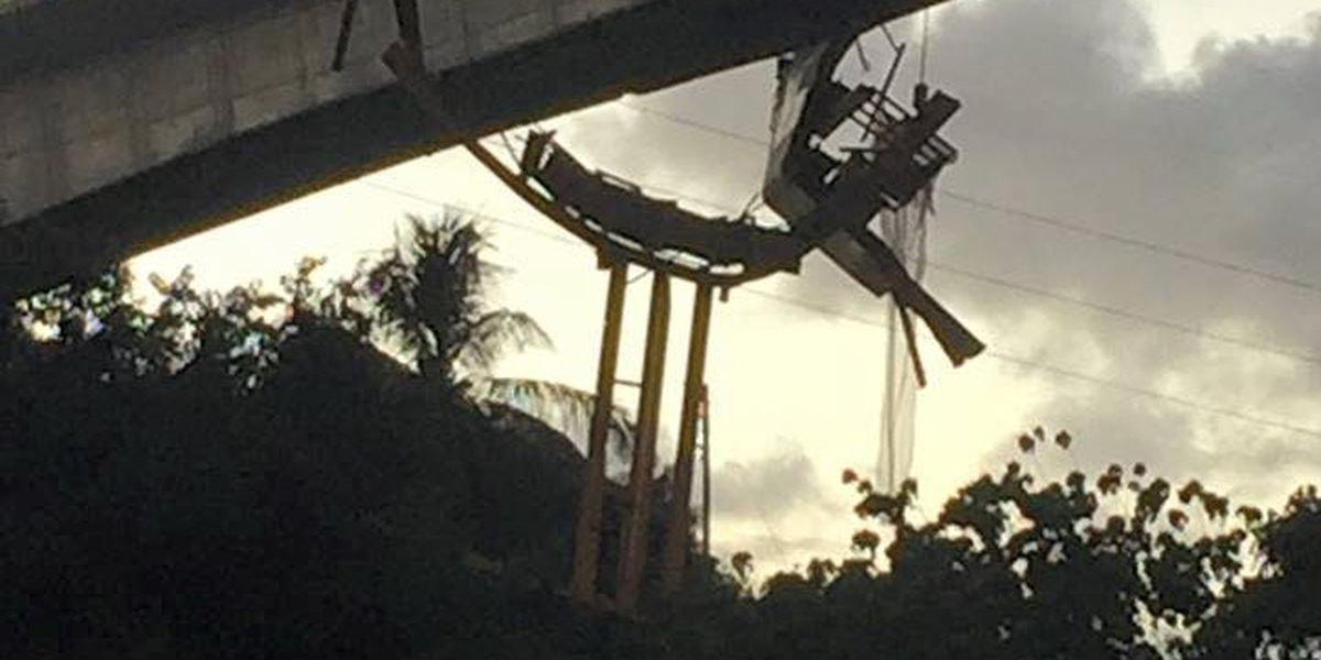 Officials: Construction form dangling from rail guideway posed no threat