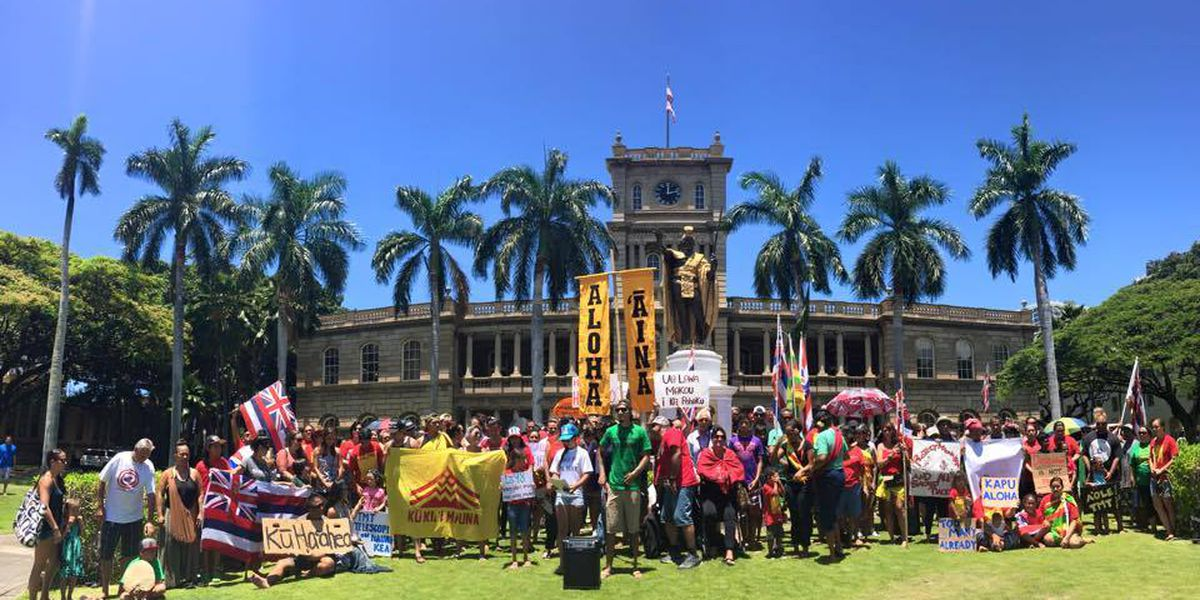 Telescope protesters gather at Kamehameha statue in Honolulu