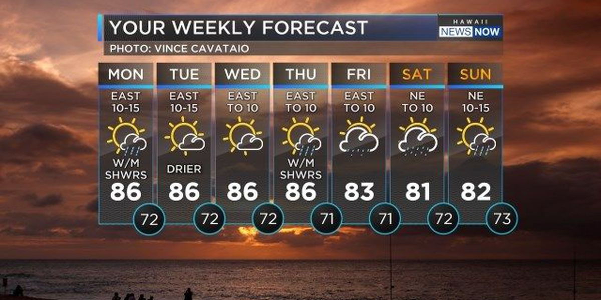Forecast: Drier trade weather to start the work week