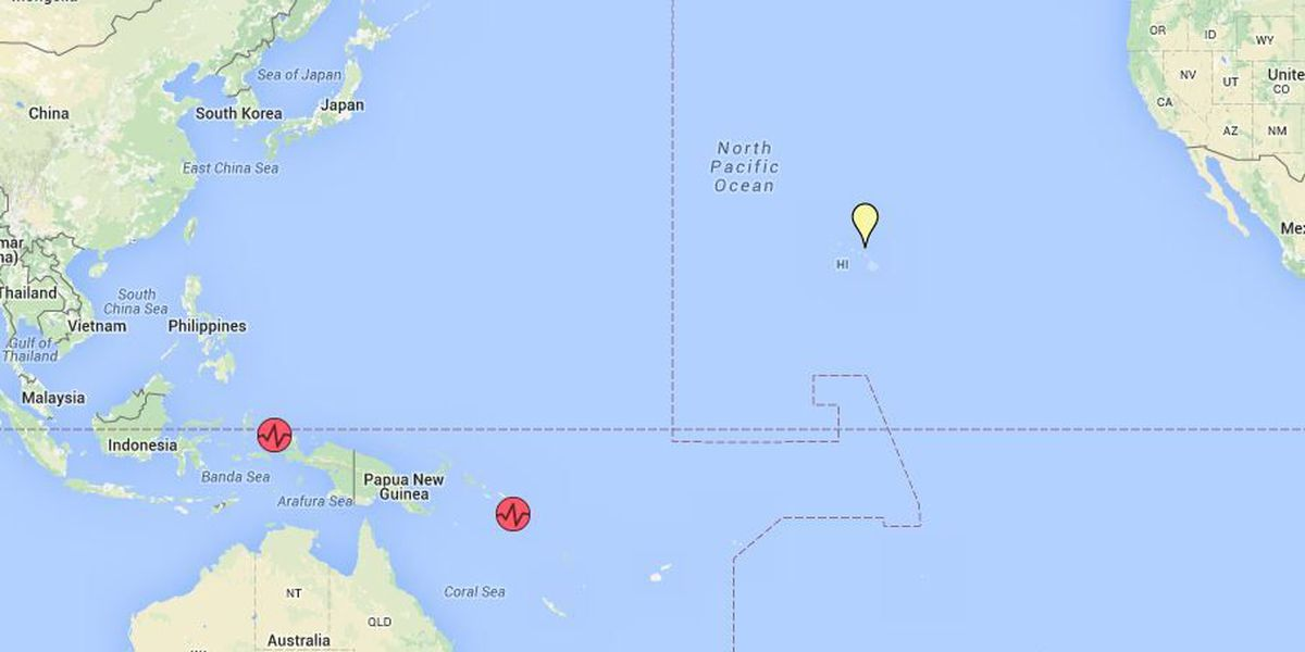 No tsunami threats to Hawaii following large quakes near Indonesia, Solomon Islands