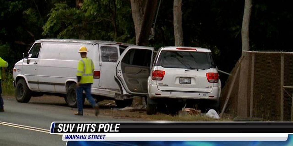 Crews work in Waipahu after SUV strikes utility pole