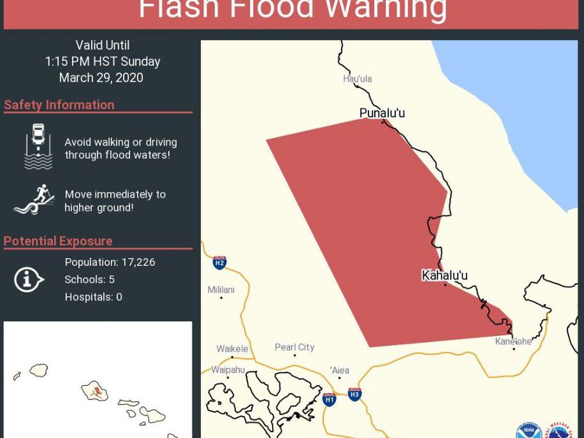 Flash flood warning canceled for Oahu