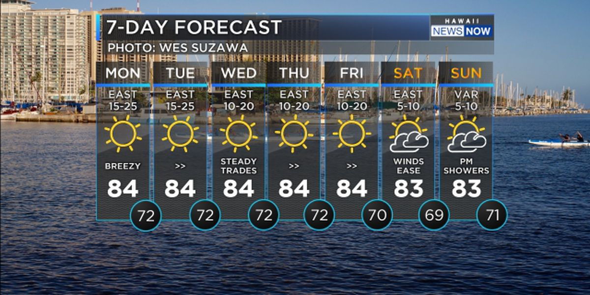 Forecast: Breezy trade winds to hold through the week