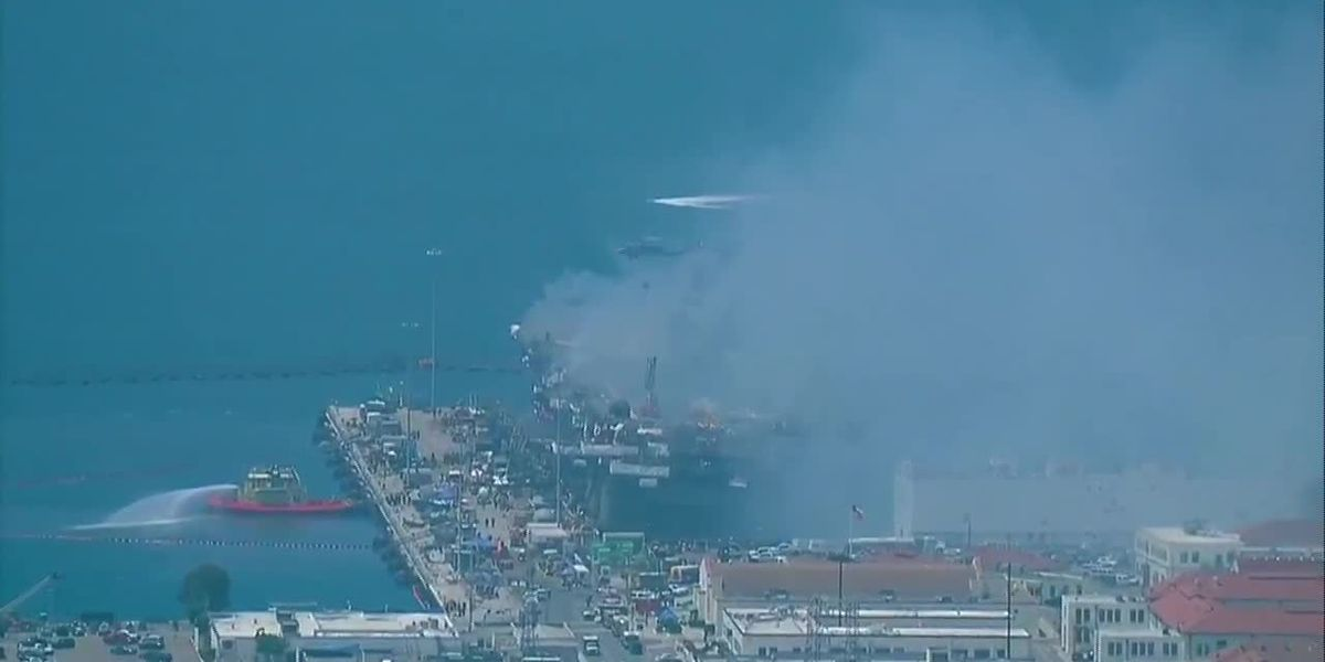 Navy sees progress against blaze on warship in San Diego Bay
