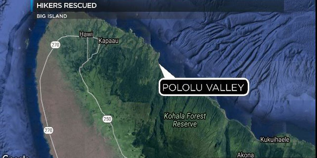 9 hikers trapped by flash flooding rescued on Hawaii Island