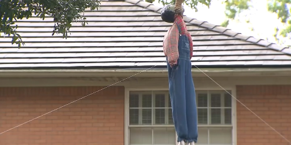 Hanging Frankenstein decoration divides community