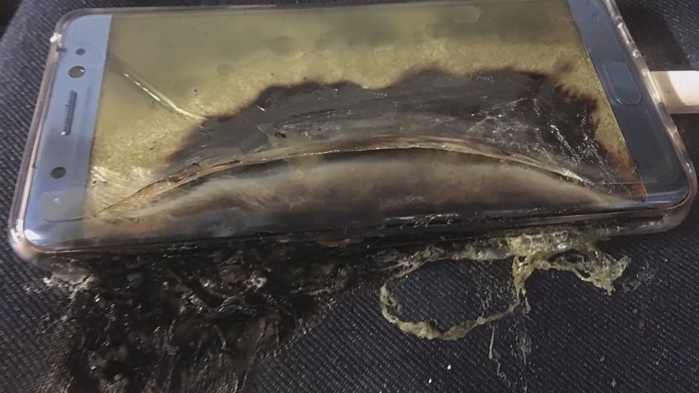 Samsung Galaxy Note 7 phones were banned from all airline flights after nearly 100 incidents of the devices overheating and sometimes injuring owner.