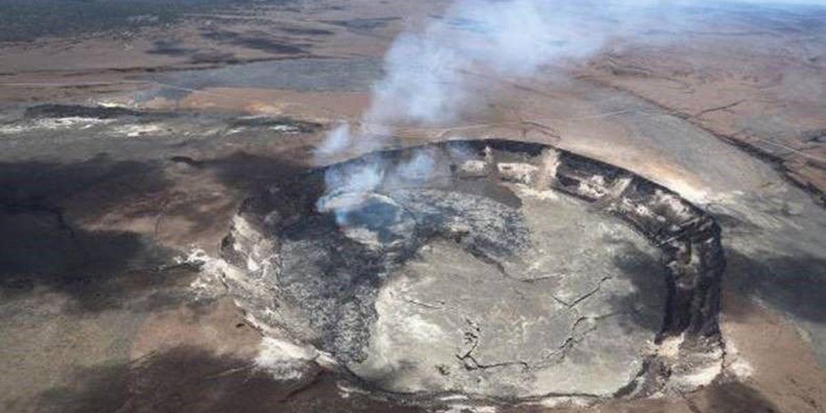 Kilauea lava lake spills onto Halemaumau Crater floor
