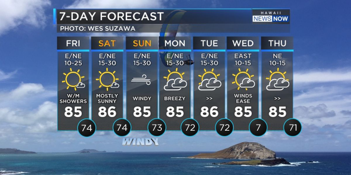 Forecast: Stronger trade winds build over the weekend
