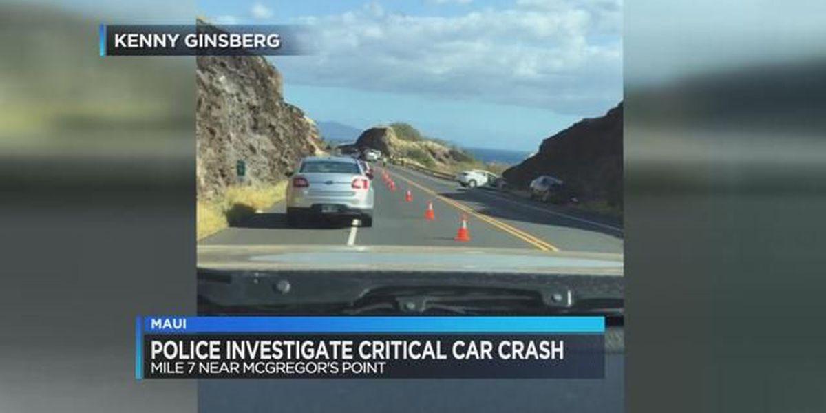 Maui police investigate critical car crash
